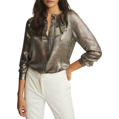 Reiss Gold Emmie Ruffle Silk Blend Blouse