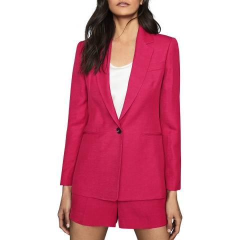 Reiss Pink Ada Linen Blend Blazer