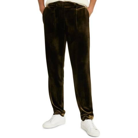 Reiss Khaki Amina Velvet Silk Blend Trousers