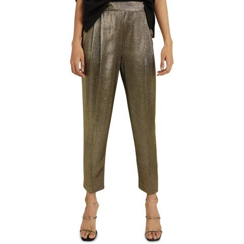 Reiss Gold Camille Shimmer Trousers