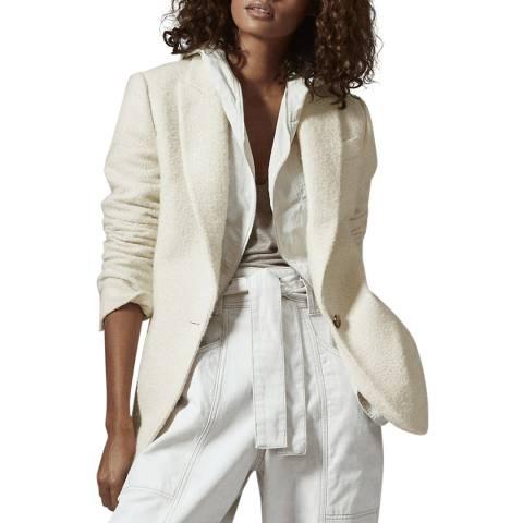 Reiss Cream Malia Boucle Wool Blend Blazer