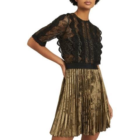 Reiss Black Metallic Athena Lace Top Dress