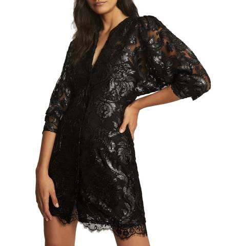 Reiss Black Metallic Kaya Dress