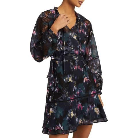 Reiss Black Print Kenzie Dress