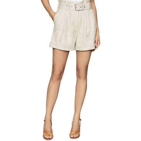 Reiss Beige Romy Belted Linen Shorts