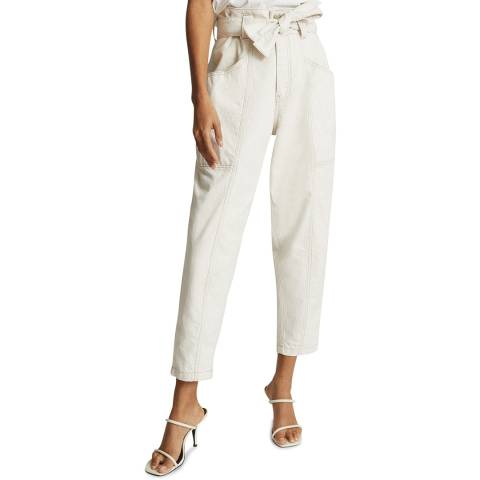 Reiss White Chantelle Linen Blend Jeans