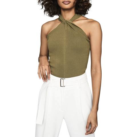 Reiss Khaki Brooke Twist Top