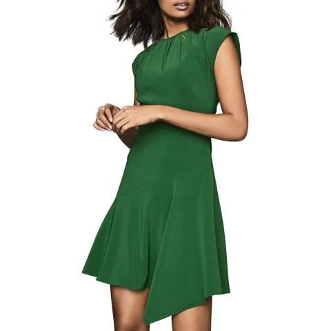 Reiss Green Belle Cap Sleeve Dress