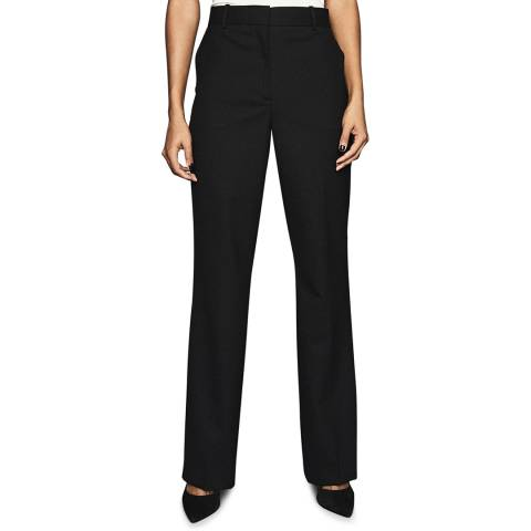 Reiss Black Hartley Textured Wool Blend Trousers