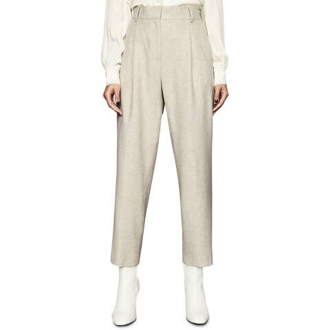 Reiss Beige Lauren Jogger Linen Blend Trousers