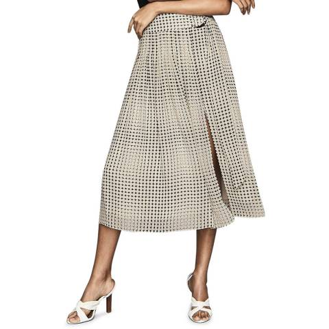Reiss Black Print Jorja Pleated Skirt