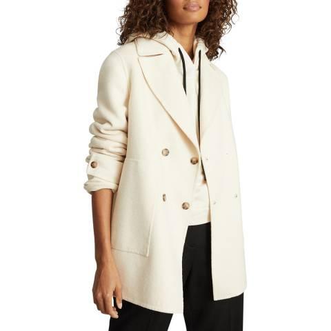 Reiss Cream Amber Wool Blend Coat