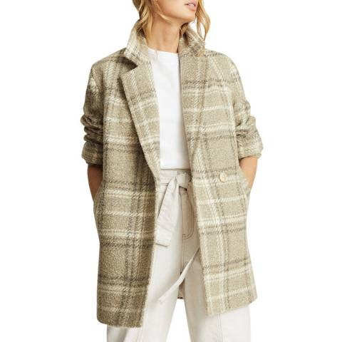 Reiss Beige Skylar Check Wool Blend Coat