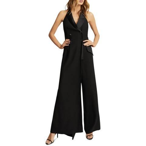 Reiss Black Annie Tux Jumpsuit
