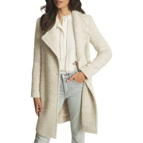 Reiss Cream Dahlia Textured Wool Blend Coat