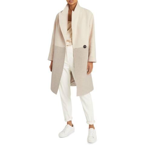 Reiss Beige Vale Colourblock Wool Blend Coat