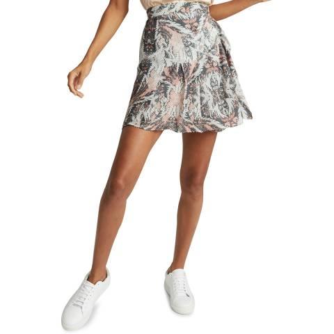 Reiss Grey Print Ariella Skirt