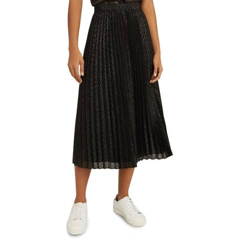 Reiss Black Marianne Mesh Pleat Skirt