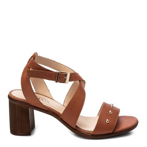 Belwest Brown Leather Studded Heeled Sandal