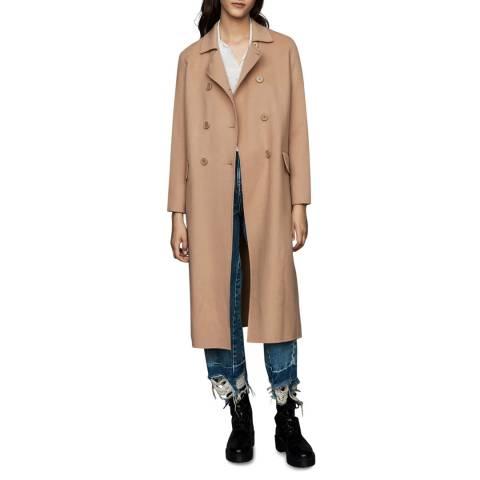 MAJE Camel Long Double Face Wool Blend Coat