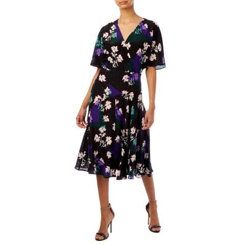 PAUL SMITH Black Floral Print Silk Dress
