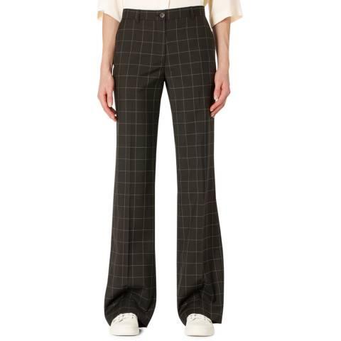 PAUL SMITH Black Check Pattern Long Wool Trousers
