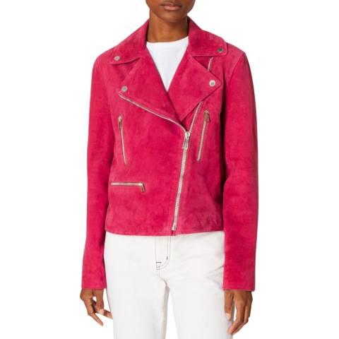 PAUL SMITH Pink Suede Biker Jacket