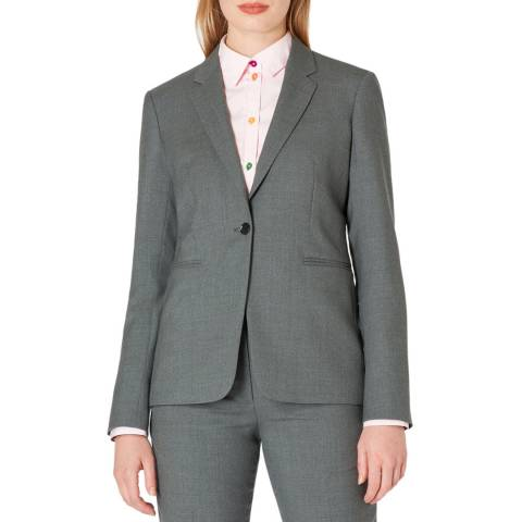 PAUL SMITH Grey One Button Wool Blazer