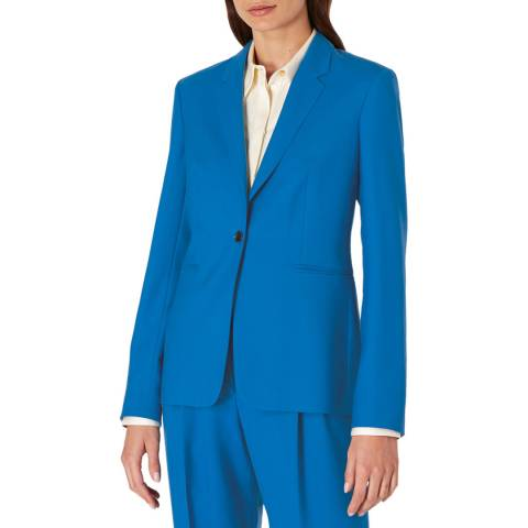 PAUL SMITH Blue One Button Wool Blazer