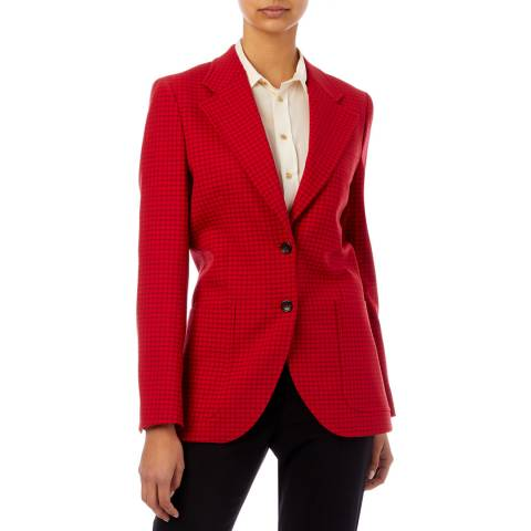PAUL SMITH Red Check Longline Wool Blend Blazer