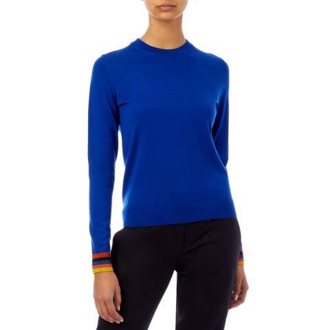 PAUL SMITH Blue Striped Cuff Wool Sweater