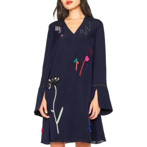 PAUL SMITH Navy Silk Applique Dress