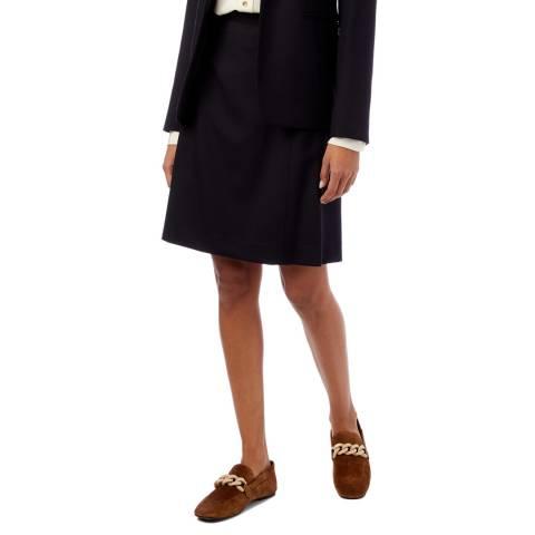 PAUL SMITH Navy A-Line Wool Skirt