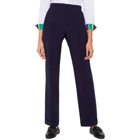 PAUL SMITH Navy Cuffed Wool Trousers
