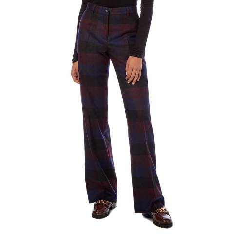 PAUL SMITH Navy Check Wool  Blend Trousers