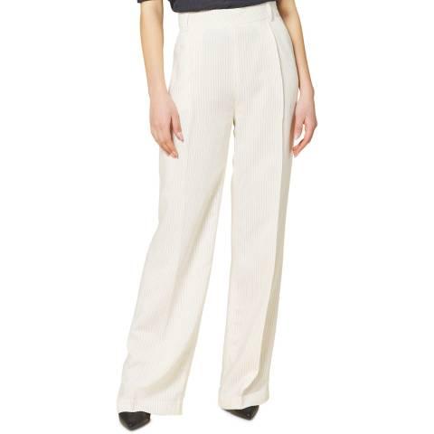 STEFANEL White Striped Long Trouser