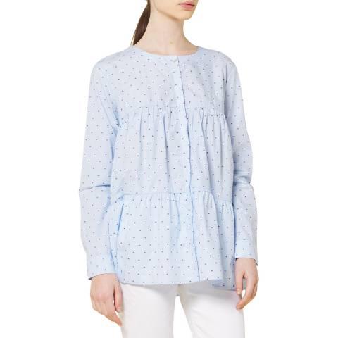 STEFANEL Blue Fantasia Cotton Blouse