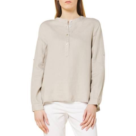 STEFANEL Light Grey Half Button Linen Polo Top