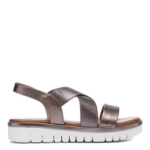 Inuovo Pewter Leather Platform Cross Strap Sandals