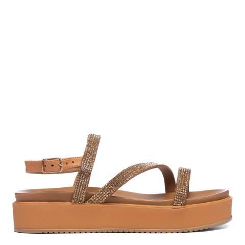 Inuovo Coconut Leather Platform Diamante Sandals