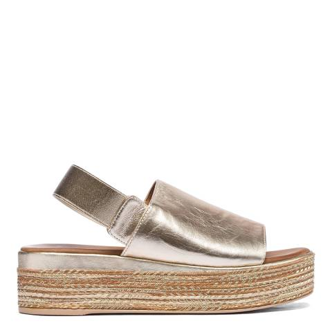 Inuovo Gold Leather Jute Wedge Sandals