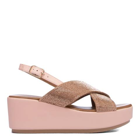 Inuovo Blush Leather Cross Strap Wedge Sandals