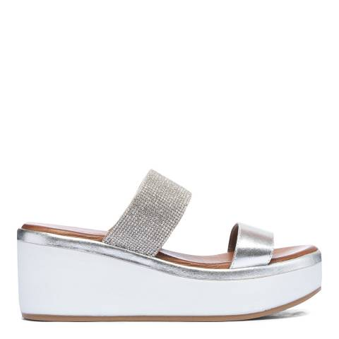 Inuovo White Leather Wedge Sandals