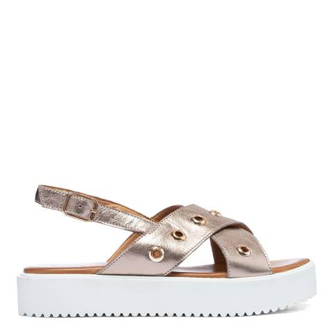 Inuovo Pewter Leather Cross Strap Platform Sandals