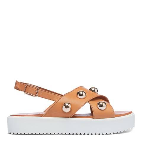 Inuovo Coconut Leather Cross Strap Stud Platform Sandals