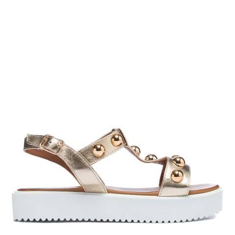 Inuovo Gold Leather Studded Platform Sandals