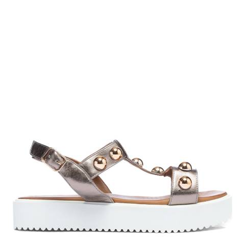 Inuovo Pewter Leather Studded Platform Sandals