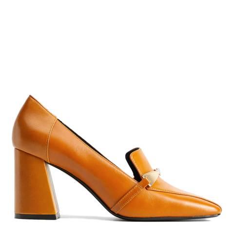 Mango Mustard Loli Heeled Loafers