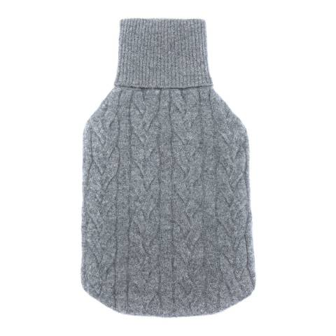 Laycuna London Grey Marl Cable Cashmere Hot water Bottle Cover