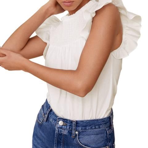 Mango White Ruffle Sleeve Tshirt